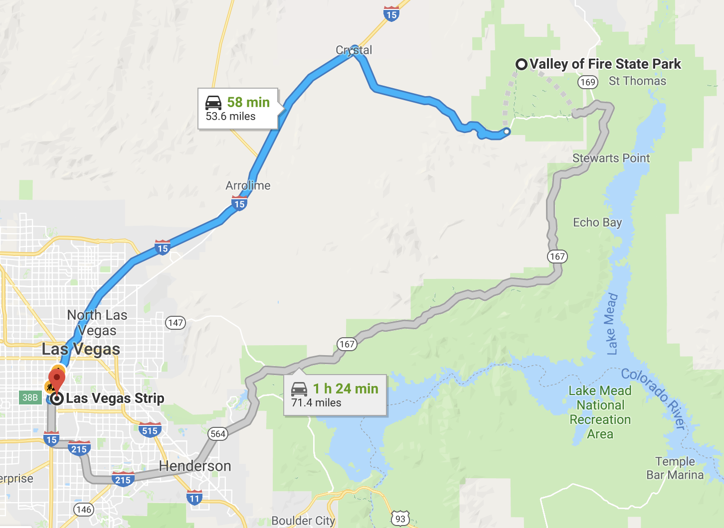 Map to Valley of Fire from Las Vegas