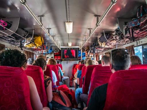 Inside a Cuban tourist bus