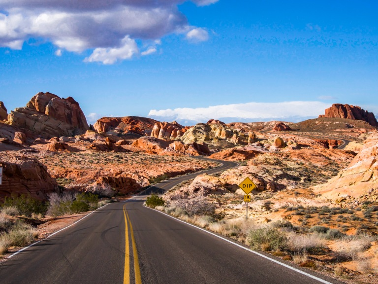 Scenic drive through the Valley of Fire