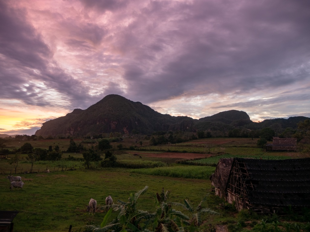 Sunset view from Airbnb in Vinales
