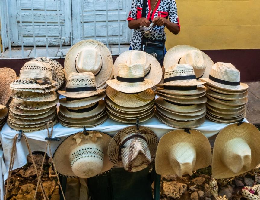 Cuban hat stall in Trinidad