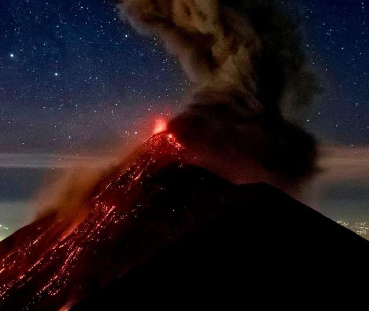 Fuego erupting at night