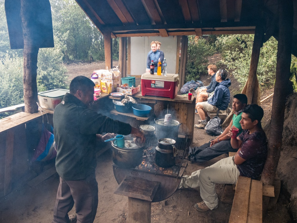 Last place to buy food and drinks on Acatenango Volcano