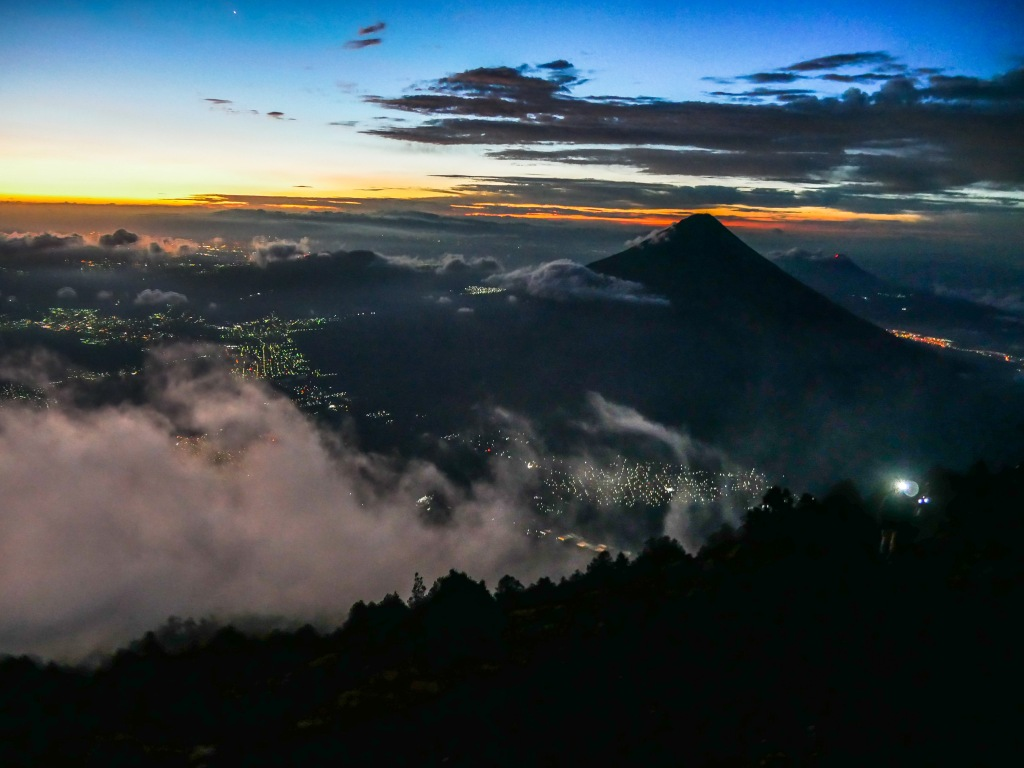 Hiking up Acatenango Volcano to catch the sunrise