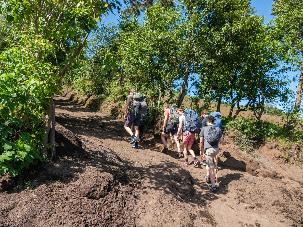 The start of the Acatenango Volcano trek from the trailhead