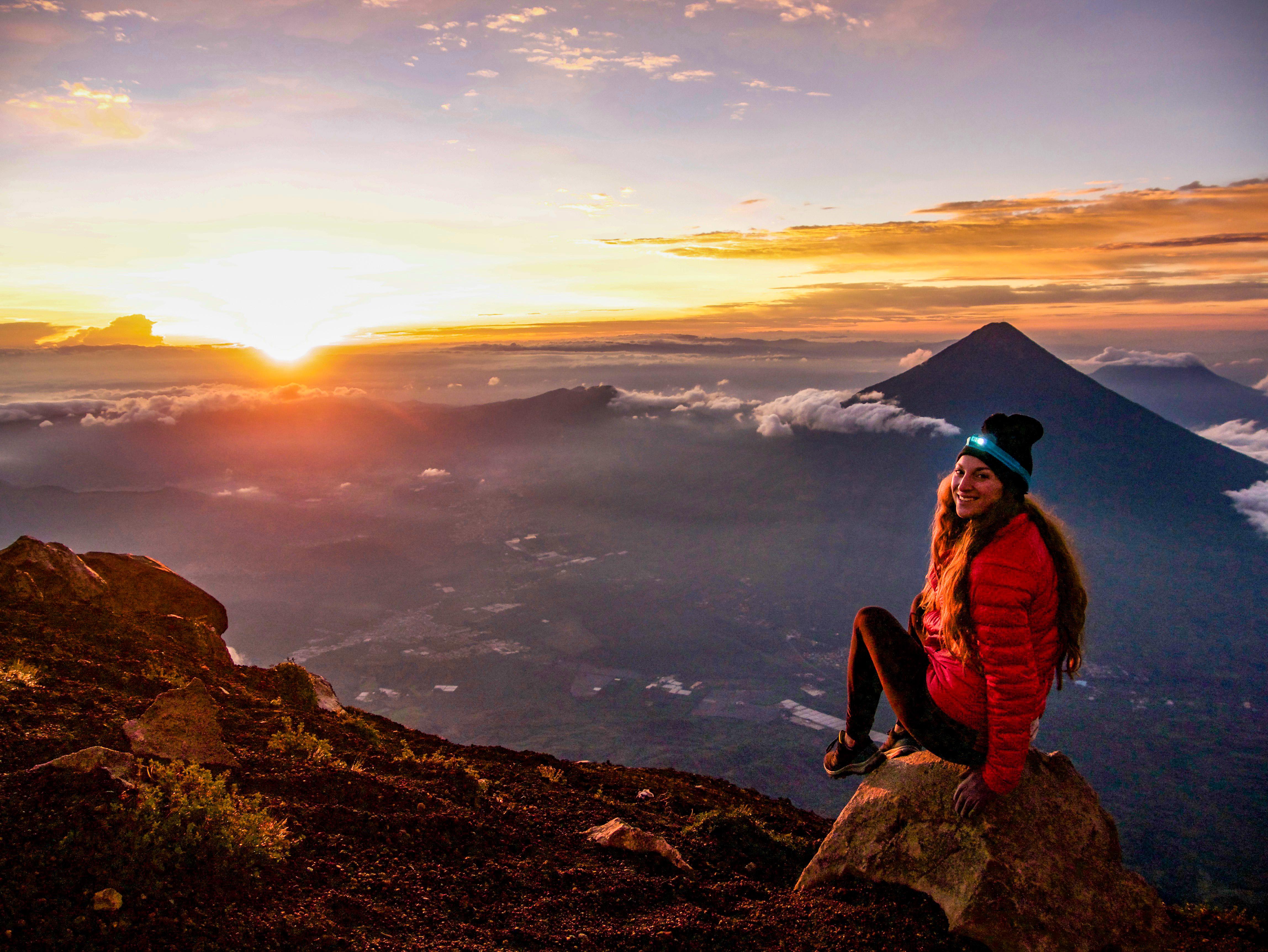 Sunrise Acatenango Volcano overlooking Agua Volcano