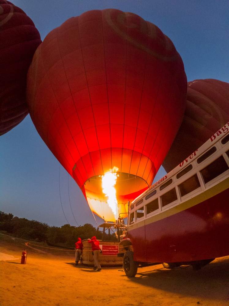 Hot Air Balloons Inflating with Balloons Over Bagan