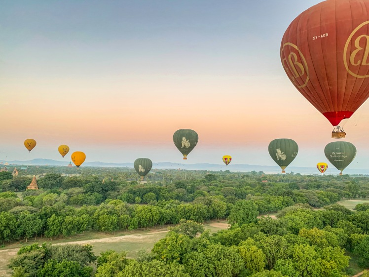 Hot air balloons in flight in Bagan
