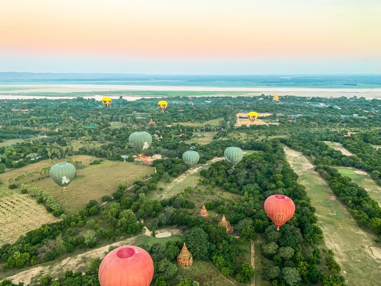 Overlooking hot air balloons and temples in Bagan, Myanmar