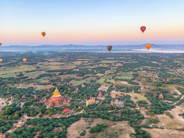 Hot air balloons over temples of Bagan